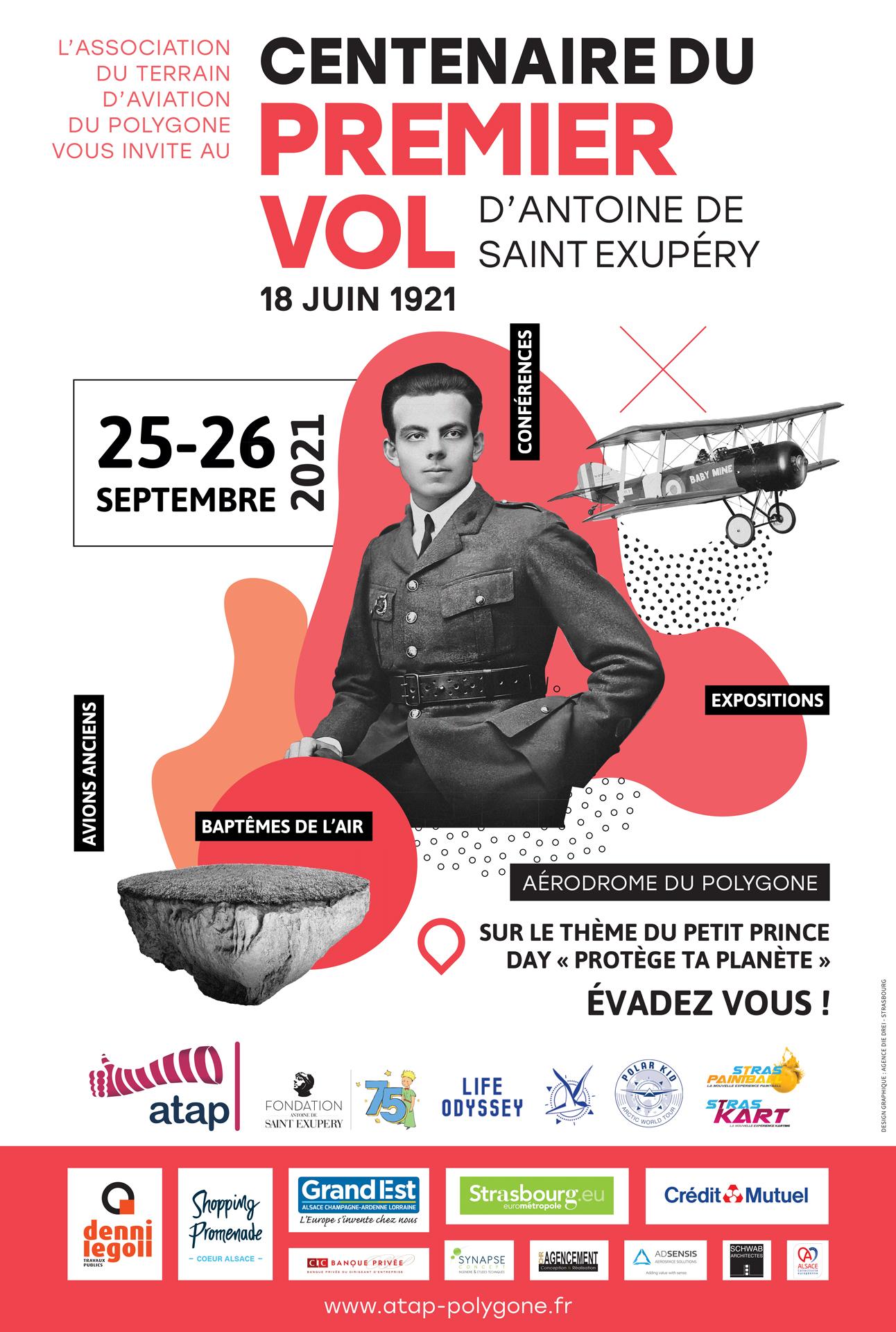 Affiche centenaire Saint Exupery Atap Strasbourg 2021